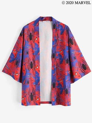 MEN Marvel Spider-Man Open Front Kimono Cardigan - Red 2xl
