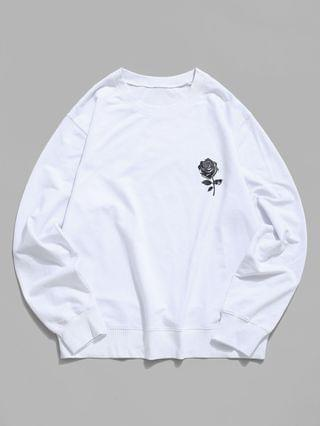 MEN Rose Graphic Crew Neck Casual Sweatshirt - White Xl