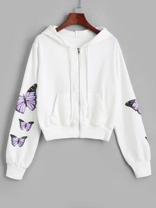 WOMEN Pockets Zip Up Butterfly Hoodie - White Xl