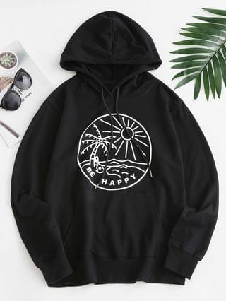 WOMEN Sun Palm Tree Graphic Front Pocket Hoodie - Black M