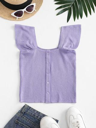 WOMEN Square Neck Knitted Crop Tank Top - Purple