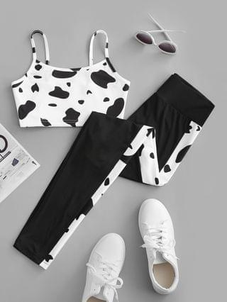 WOMEN Active Cow Print Camisole And Leggings Set - White Xl