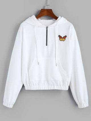 WOMEN Butterfly Embroidered Drop Shoulder Front Pocket Hoodie - White Xl