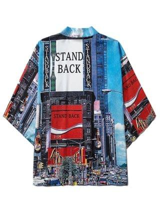 MEN Stand Back City Graphic Open Front Kimono Cardigan - Blueberry Blue 2xl