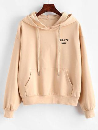 WOMEN Earth Day Pocket Hoodie - Apricot Xl
