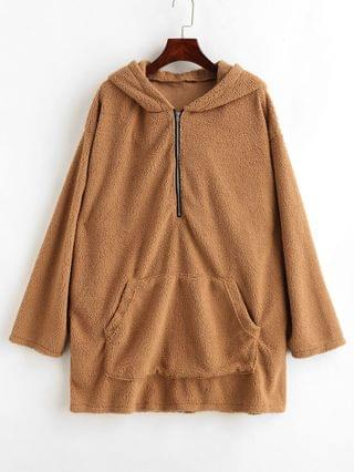 WOMEN Fluffy Tunic Zip Hoodie With Pocket - Light Brown Xl