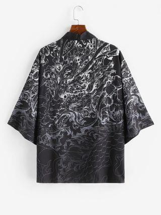MEN Open Front Dragon Graphic Kimono Cardigan - Silk White 3xl