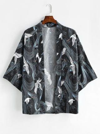 MEN Flying Crane Graphic Oriental Kimono Cardigan - Black 2xl