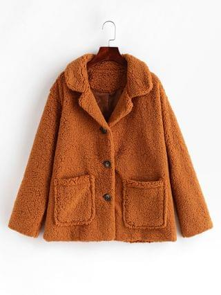 WOMEN Pocket Single Breasted Fluffy Teddy Coat - Brown L