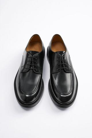 MEN BLACK LEATHER CREEPERS