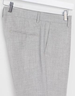 New Look skinny suit pants in light gray