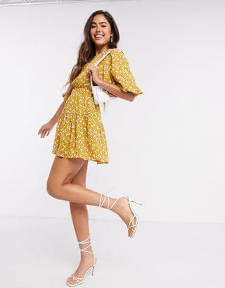 WOMEN Fashion Union mini puff sleeve dress in yellow spot floral