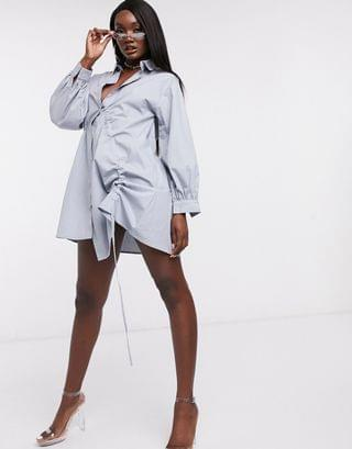 WOMEN Missguided oversized shirt dress with ruched side detail in light blue