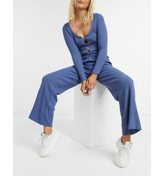 WOMEN cardi and wide leg trousers co-ord in blue