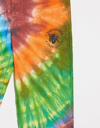 WOMEN O Mighty festival cargo pants in pink tie-dye & embroidered logo