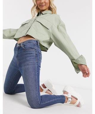 WOMEN COLLUSION x001 highwaisted skinny jeans in mid blue