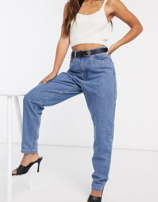 WOMEN Missguided riot high waisted plain rigid mom jeans in blue