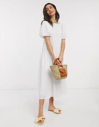 WOMEN textured volume puff sleeve midi smock dress in white