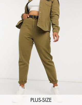 WOMEN Missguided Plus two-piece mom jeans in khaki
