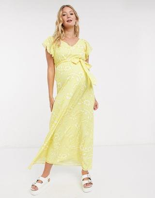 WOMEN Twisted Wunder Maternity ruffle maxi dress in lemon floral