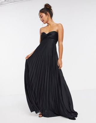WOMEN bandeau maxi dress with knot detail in black
