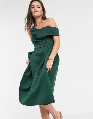 WOMEN drape fallen shoulder prom midi dress in forest green