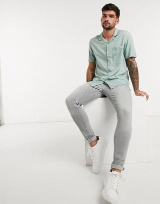 Topman short sleeve two-piece revere shirt in sage
