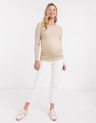 WOMEN Maternity crew neck ribbed sweater