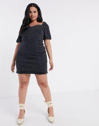 WOMEN River Island Plus puff sleeve denim mini dress in black