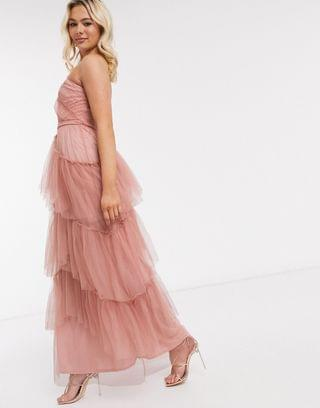 WOMEN Little Mistress tiered one shoulder maxi in cosmetic pink
