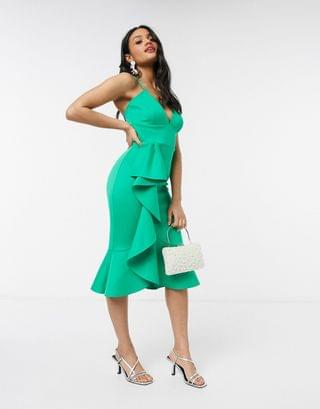 WOMEN Laced In Love cami scuba dress with frill detail in green