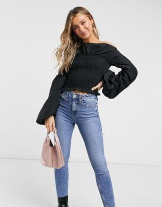 WOMEN Never Fully Dressed off shoulder oversized pleated sleeve detail shirred top in black