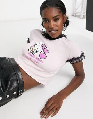 WOMEN New Girl Order x Hello Kitty t-shirt with cuddle kitty graphic & frill detail