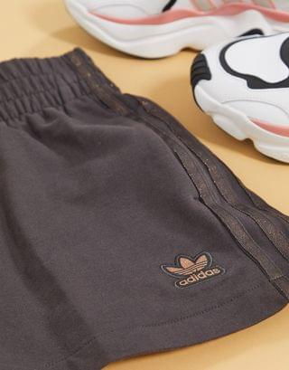 WOMEN adidas Originals New Neutrals logo high waisted shorts in dark brown