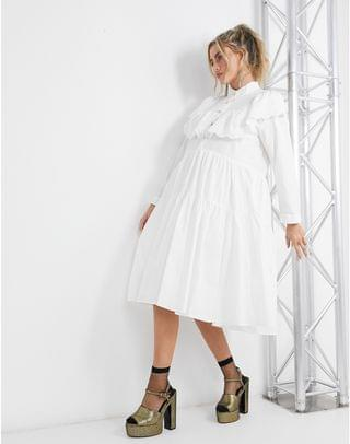 WOMEN Sister Jane midi shirt dress with tiered skirt and broderie collar in cotton