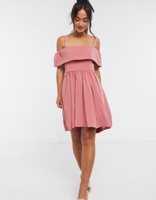 WOMEN Ever New bardot mini dress in dusty rose