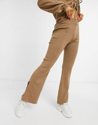 WOMEN lounge jumper and wide leg trouser co-ord in brown