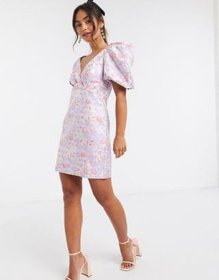 WOMEN Ever New structured jacquard mini dress with puff sleeve in soft floral