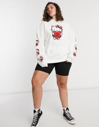 WOMEN New Girl Order Curve x Hello Kitty oversized hoodie with sleeve & chest graphic