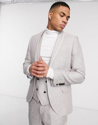 Twisted Tailor slim linen suit jacket in stone