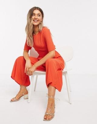 WOMEN tea jumpsuit with button back detail in tomato red