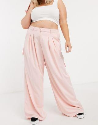 WOMEN Daisy Street Plus relaxed wide leg pants with pleat front two-piece