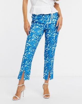 WOMEN In The Style x Saffron Barker tapered cigarette pants two-piece in blue paisley print