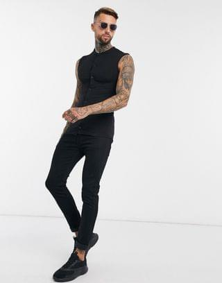 muscle fit jersey sleeveless shirt with grandad collar in black