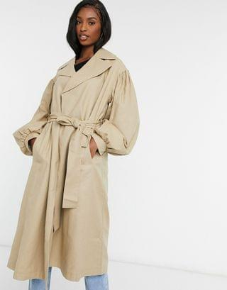 WOMEN Tall extreme sleeve trench coat in stone