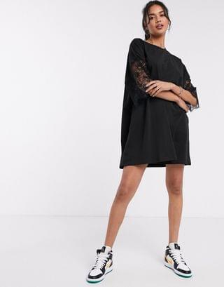 WOMEN oversized lace sleeve t-shirt dress in black