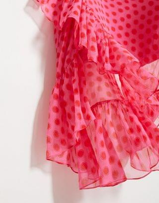 WOMEN Dark Pink Plus plunge wrap maxi dress in pink red polka dot