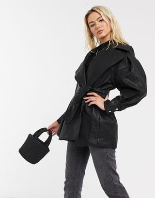 WOMEN textured extreme sleeve leather look jacket in black