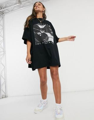 WOMEN Petite oversized t-shirt dress in black with escape the ordinary graphic
