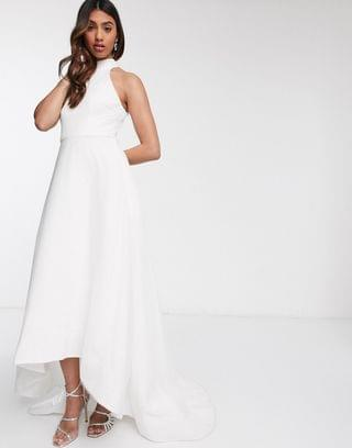 WOMEN Bariano bridal high low mesh maxi dress with pockets in ivory